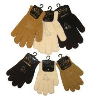 EissportWelt Fingerhandschuhe mit Strassmotiv